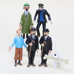 Adventure Figure NZ - 6Pcs Lot Anime Cartoon 4-9cm The Adventures of Tintin PVC Action Figures Collectible Model Toys Gifts For Kids
