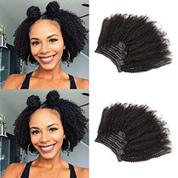4c human hair UK - African American Afro Kinky Curly Clip in Human Hair Extensions Brazilian Virgin Hair Natural Color 4B 4C Afro Kinky Curly Clip Ins