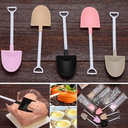 Ice cream spoon dIsposable plastIc online shopping - Colorful Disposable Plastic Cake Spoon Potted Ice Cream Scoop Shovel Small Potted Flower Pot pastry Spoons Free DHL HH7