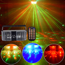 rgb laser projector 2021 - 4 Lens Butterfly Laser Lights 25W LED Stage Lighting DJ Disco Light Bar Family Party Voice-activated Laser Projector for KTV Box