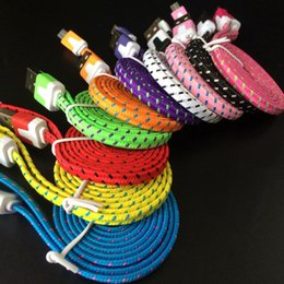$enCountryForm.capitalKeyWord Australia - Flat Noodle Braided Charger Cable Fabric Braided Micro USB Charging Data Sync Cord for Type-c Android Wholesale