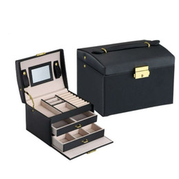 leather packaging box Australia - New Black Color PU Leather Jewelry Packaging Box With 2 Drawers Three-layer Storage Jewelry Organizer Carrying Cases Women Cosmetic