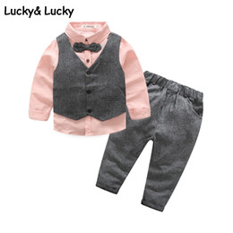 Wedding Vest Pink Australia - New Clothing Sets Gentleman Kids Clothes Wedding And Party Boys Clothes 3pcs set Pink Shirt+vest+pants Roupas Infantis Menino J190513