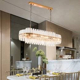 Discount lights design cristal - Gold Bronze Modern Chandeleir Lighting Oval Design Chain Crystal Chandelier Dining Room Luxury LED Lustres De Cristal UP