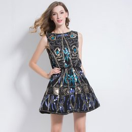 $enCountryForm.capitalKeyWord UK - Women Little Black Dress Sexy Deep V Back Sleeveless Sundress Embroidery Floral Colorful Sequined Beaded A-Line Party Dress