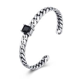 Onyx Silver Bracelet Australia - 925 Sterling Silver Bracelet Retro Onyx Cuff Bracelets Women Bangles Open Adjustable Copper Bracelets Fashion Jewelry