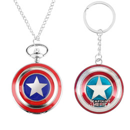 Superhero ShieldS online shopping - Pocket Watch Key Ring Gift Set Superhero Theme Watch Ironman Spideman Shield Kid Fans Best Gifts
