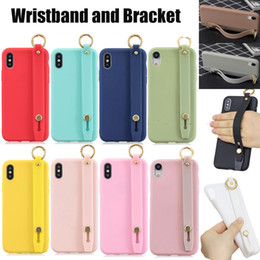 $enCountryForm.capitalKeyWord NZ - For iPhone 8 7 6 Plus XS Max XR Luxury Candy Color Wrist Strap Hand Band Soft Silicone TPU Stand Bracket Holder Shockproof Protective Cover