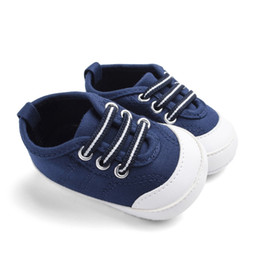 Baby Canvas Shoe Wholesale Australia - Spring Baby Boys Girls First Walkers Canvas Design Anti-Slip Toddler Soft Soled Shoes 0-18M