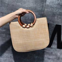 $enCountryForm.capitalKeyWord Australia - INS Summer Women Large Hand Weave Straw Beach Bag Feminine Linen Woven Bucket Bag Grass Casual Tote Handbag Knitting Shoulder Cross body Bag