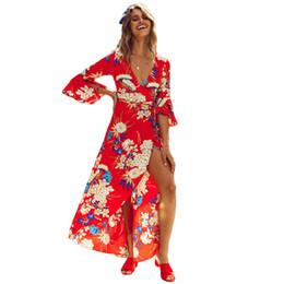 b4d89d9d83e5 2019 Spring New Flower Printed Dress Sexy Women Floral Wrapped Maxi Dress V  Neck Tie Waist Flare Sleeve Split Party Wrap Dress
