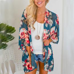 e43e8db71fce3 Women Shirt Kimono Boho Cardigan Vintage Floral Print Blouse Loose Shawl  Cape Knits Bohemian Coat Jacket Two Color