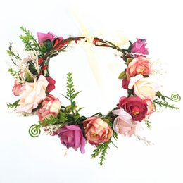 $enCountryForm.capitalKeyWord Australia - Lady Girl Sweet Princess Headband Floral Crown Flower Headband Wedding Party Hair Wreath Boho Bridal Headdress