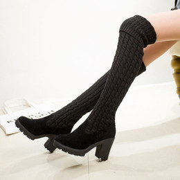 Wholesale NEW Women Boots Autumn Winter Ladies Fashion Flat Bottom Boots Shoes Over The Knee Thigh High Knitting Wool Long Brand