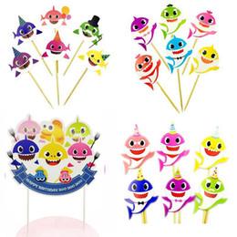 $enCountryForm.capitalKeyWord Australia - Baby Shark Cake Flag Toothpicks Flags Cartoon Cupcake Inserts Card Decor Kids Adult Birthday Party Supplies EEA185