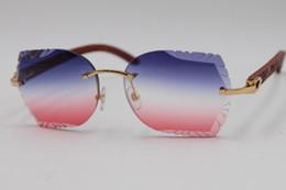$enCountryForm.capitalKeyWord Australia - Free Shipping Rimless Sunglasses Carved lens 8200762 Carved Wood Trimming Lens Sunglasses New Rimless Glasses Hot Unisex SunGlasses 3.0 Lens