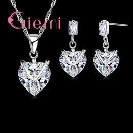 $enCountryForm.capitalKeyWord NZ - Top quality Wedding Engagement 925 Sterling Silver Jewelry Sets Heart Shining Crystal Cute Pendant Necklace Women Earring