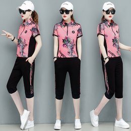 Wholesale Summer Korean Short Sleeve Fashion Tracksuit Women Letter Printing Sport Suit Woman Thin Casual Plus Size Womens Sets