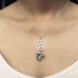 $enCountryForm.capitalKeyWord NZ - Supernatural Witchcraft Pentagram Necklace Evil Squirrel Deer Collar Vintage Silver Necklaces Pendants Fashion Women Jewelry Party Prizes