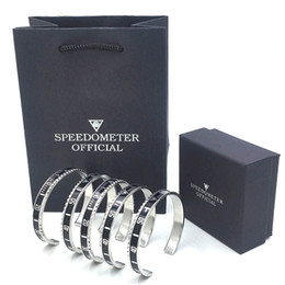 Wholesale Solid stainless steel Speedometer Official Black Bangle Bracelet with Original Box Hand Bags Fashion Women Mens Hip hop Cuff Bracelet Set