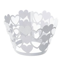 Cupcake Muffins Cake Australia - Heart Shape Cupcake Wrappers Bake Cake Paper Cups Laser-Cut Liner Muffin Case Trays Hollow Out Cups for Wedding Party Birthday