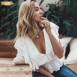 ladies high neck white blouse Australia - Blouse V Neck Summer Sexy Women Elegant High Waist Embroidery Cotton Shirt Fashion White Blouse 2019 Ladies Tops