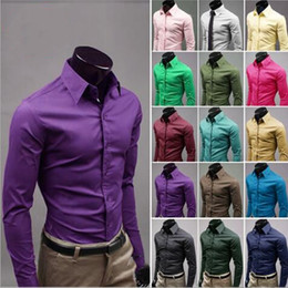 business tee shirts Australia - Men's Shirts Solid Dress Shirts Business Fashion Tops Long Sleeve Slim Shirt Summer Candy Color Blouses Elastic Tees Men's Clothes B4208