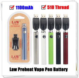pen pack NZ - 5pcs LAW Preheat VV Vape Pen 1100mah Battery With USB Charger Variable Voltage Preheat Battery 510 Thread Battery Starter Kits Blister Pack