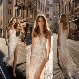 Wholesale Berta Mermaid Wedding Dresses Lace V Neck Split Backless With Tulle Overskirts Sweep Train Bridal Gowns robe de mariée