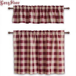 $enCountryForm.capitalKeyWord Australia - 1 Set 3 pcs Home Decorative Modern Pink Navy Black Colour Plaid Rod Pocket Thick Smooth Plushed Kitchen Window Door Curtains