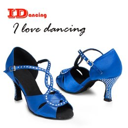 rhinestone dance shoes Canada - Rhinestone dance shoe female salsa shoes calzado mujer sexy high heel black and blue comfortable shoes cross straps JuseDanc