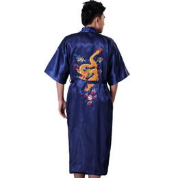 Discount embroidered robes - Black Traditional Chinese Menb Silk Satin Robe Embroider Kimono Gown Dragon Bathrobe Sleepwear Size S M L XL XXL XXXL