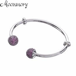 $enCountryForm.capitalKeyWord NZ - Moonmory Moments Silver Open Bangle With Pave Caps S925 Sterling Silver Bead Bracelet With Red Zircon Diy Charm Bangle Jewelry MX190719