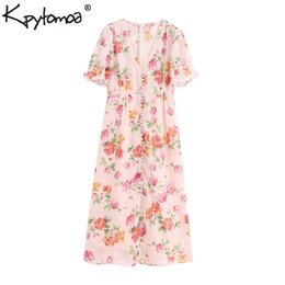 $enCountryForm.capitalKeyWord Australia - Vintage Stylish Floral Print Chiffon Midi Dress Women 2019 Fashion V Neck Short Sleeve Buttons Dresses Casual Vestidos Mujer Y19073101