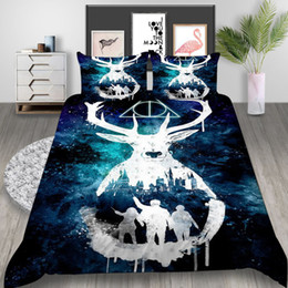 Queen size cartoon bedding online shopping - Queen Size Bedding Set Harry Potter Deer Mysterious Creative D Duvet Cover King Home Deco Single Double Bed Cover with Pillowcase