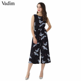 cute casual jumpsuits UK - Vadim Women Cute Crane Print Jumpsuit Sashes Pockets Sleeveless Pleated Rompers Ladies Vintage Casual Jumpsuits Kz1016 Y19060501