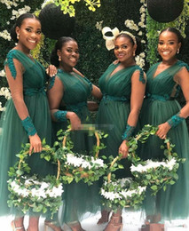 emerald ivory wedding dress Australia - 2019 Tulle Bridesmaid Dresses Emerald Green Lace Appliques Wedding Guest Dresses Ankle Length V-Neck See Through vestidos de dama de honor