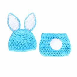 crochet baby animal outfits UK - Newborn Easter Bunny Outfit,Handmade Crochet Baby Boy Girl Rabbit Animal Hat and Diaper Cover with Pompom Set,Infant Toddler Photo Prop
