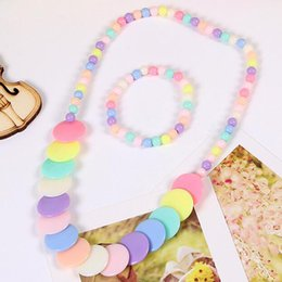 $enCountryForm.capitalKeyWord Australia - New Sale Candy Color Beads Gift for Child Flower Necklace Bracelets Princess Baby Girl Jewelry Set Kid Choker Accessories T137