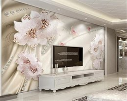 decorative printed wallpaper NZ - 3d Wallpaper Wall Promotion Luxury Diamond Flower Butterfly Digital Printing HD Decorative Beautiful Wallpaper