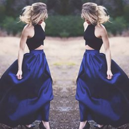 holiday evening gowns floor length Canada - fitted navy 2 piece prom dress Fashion A Line Halter Satin Unique Evening Gowns Long Formal Party Dresses Cheap Holiday 2018 prom Dress