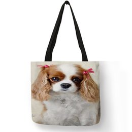 ddafae94aaa Reusable Shopping Bag Cute Charles Spaniel Dog Print Tote Handbags For Women  Girls School Traveling Shoulder Bags Portable