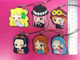 robin figure NZ - 30 pcs lot Japanese original product anime One Piece figures Nami,Robin,Perona,Shirahoshi, Vivi Cell Phone strap keychain pendant toys