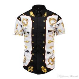 0866ae7dadb5 Summer Latest Brand design clothes men galaxy golden dragon flower print Short  sleeve 3D shirt Baroque printing Medusa men Shirts
