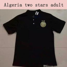 uniform polo UK - New Arrive 2 Stars Algeria Soccer Polo Shirt 2020 Algerie Black Casual Wear 2019 Algeria White POLO Training Uniforms Drop Shipping
