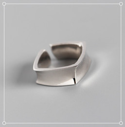 Square Geometric Ring Australia - INS personality geometric square glossy open index finger 925 silver ring jewelryluxury designer jewelry women rings