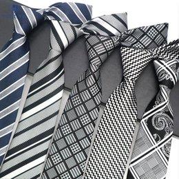 Mens wedding neckwear online shopping - Luxury Mens Tie CM Black Navy Gray Striped Silk Neckwear Jacquard Woven Neck Ties For Men Formal Business Wedding Party