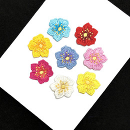 wholesale lace motifs Australia - Garment Accessories DIY Iron Small Floral Embroidery Lace Applique Motifs Hot Sales Patches Trim For Dresses