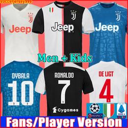 Shirt Soccer jerSeyS online shopping - Fans Player version Juventus soccer jersey football shirt RONALDO DE LIGT uniforms RABIOT DYBALA JUVE champions league away