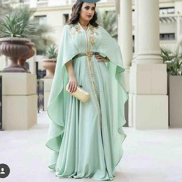 mint plus size shirt NZ - 2020 Muslim Mint Green Caftan Evening Dresses Long Sleeve Gold Appliques Embroidery Kaftan Prom Gowns Arabic Abaya Plus Size Formal Dress